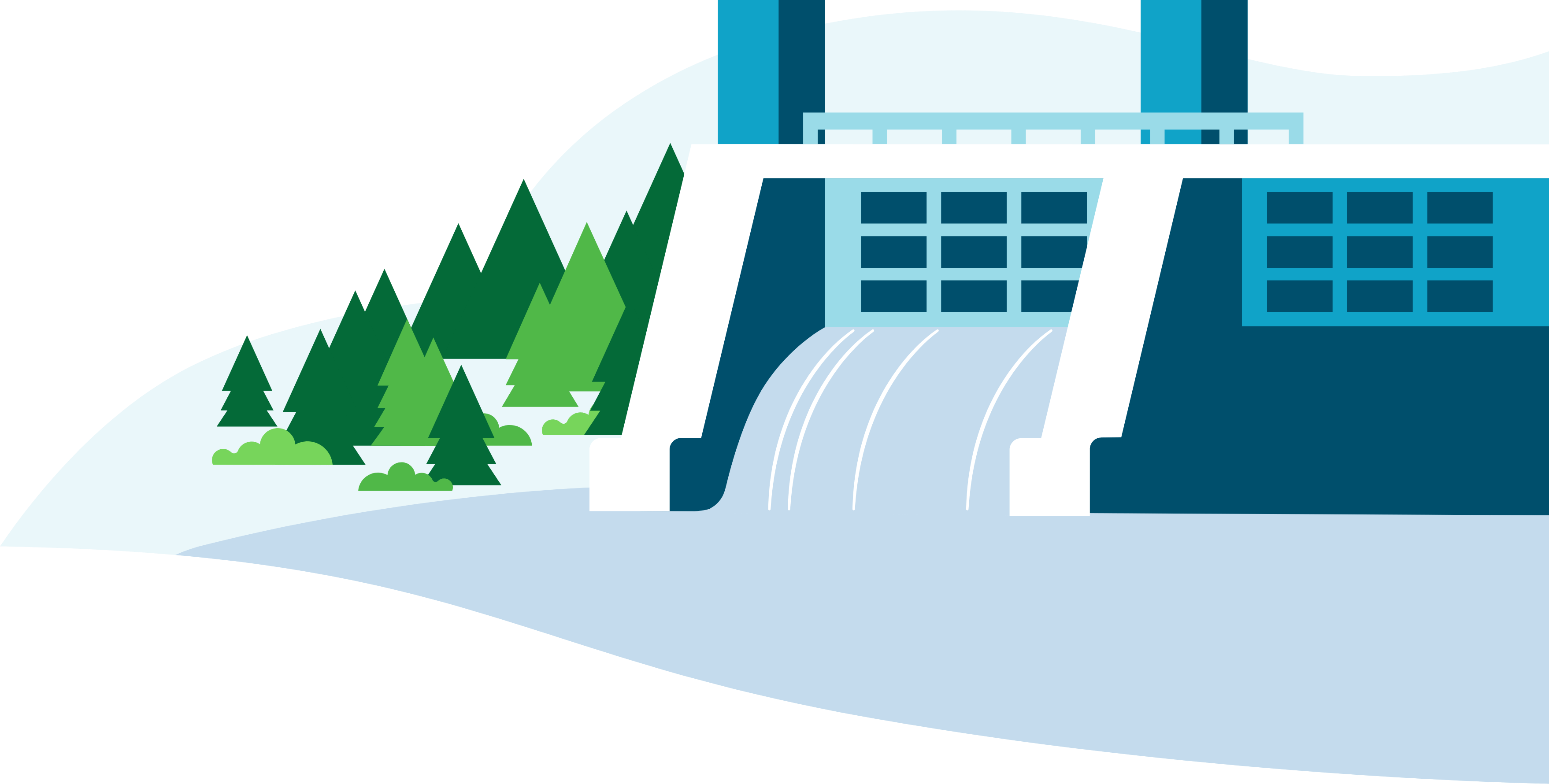 Illustration of dam in green nature