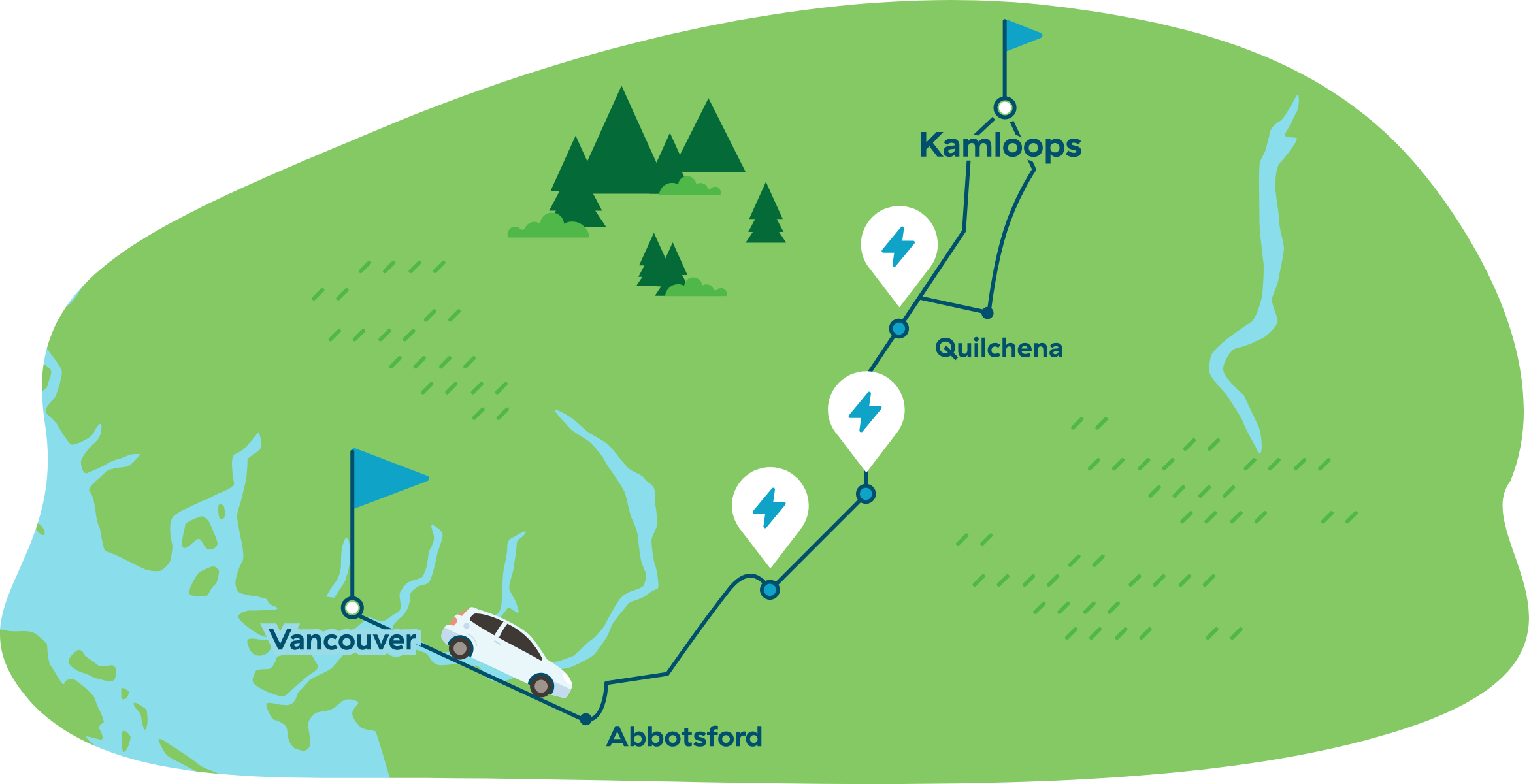 Map of driving from Vancouver to Kamloops