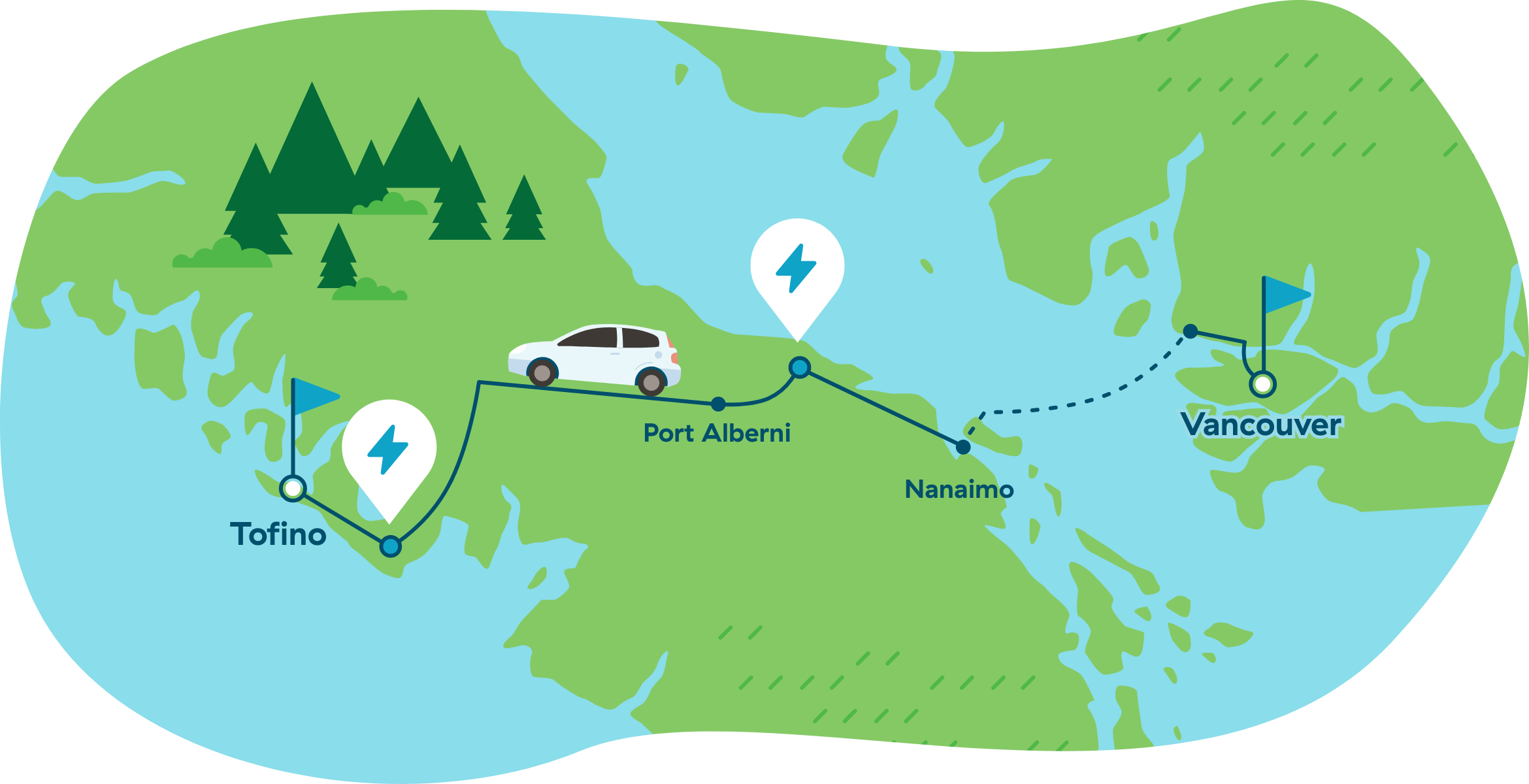map of trip from Vancouver to Tofino