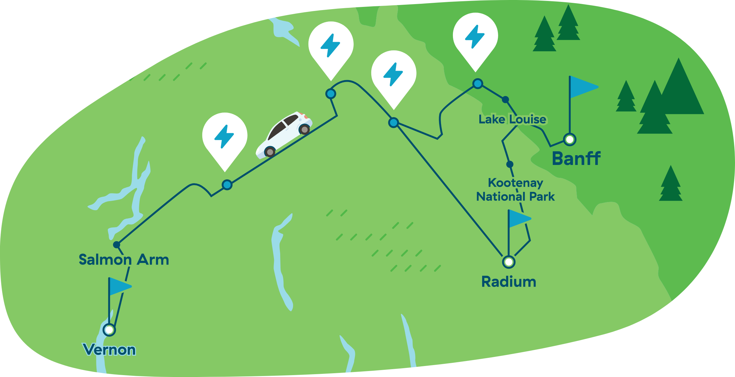 Map of driving from Vernon to Banff and Radium