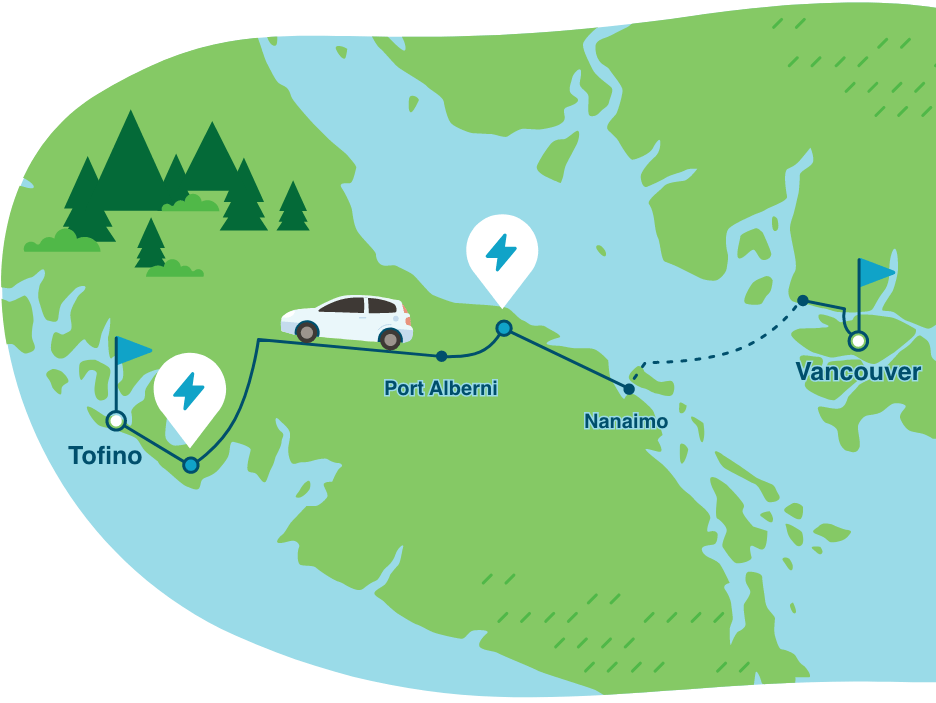 road trip Vancouver to Tofino in an electric vehicle