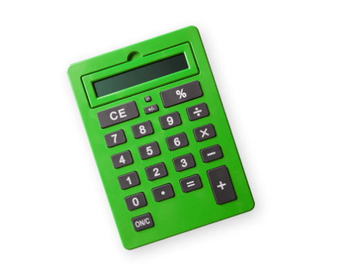 a green calculator with a piggy bank icon