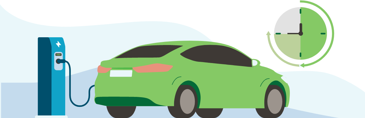 Illustration of an electric vehicle charging